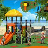 Small Indoor Playground Type and Plastic Playground Material outdoor plastic house with baby swing and slide for garden