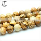 Natural Tumbled Picture Jasper Rock Stone Sandstone Brown Gemstone Gem Round Loose Beads Strand