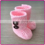 Wholesale handmade knitted crochet baby booties newborn baby warm socks cute girls crochet booties