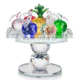 Custom colorful decoration k9 glass promotion pineapple with base crystal fruit figurine