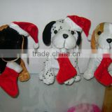 Promoting Welcomed 3-colour Merry Christmas Plush dog with hat&stocking