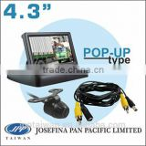 "CM432F-CKR607,4.3"" POP-UP car monitor backup reversing camera kit, including rear view camera with guildline, 5M extension cable"