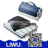 Portable plastic waterproof picnic blanket/ three layers of composite with polar fleece and PVC