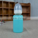 2015 fashion design glass milk bottle with nipple and lid,fatory promotion price of glass water milk bottle