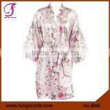 FUNG 3008 Women Floral Satin Bride Robe
