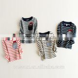 Striped cotton long sleeve pocket T shirt for Boys