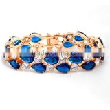 Sapphire Blue 18K Gold Plated CZ Bangle Wedding Fashion Jewelry Wholesale China Bracelet