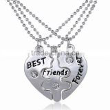 3pcs BFF Best Friend Forever Love Break Heart Pendent Friendship Necklace Gift
