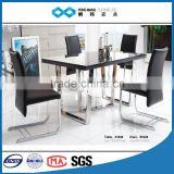 TB u shaped metal table legs tempered glass black dining table 6 chair set