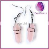 Hot sale rose quartz stone point hook earring