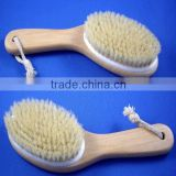natural bristle bath brush with wooden handle