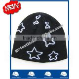 hot sale new product for 2014 Wholesale china manufacture CUSTOM LOGO back pentagram embroidery winter men beanie hat and cap