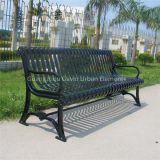Powder coated flat bar metal park bench outdoor cast iron garden bench
