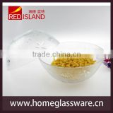 "9"" large mixing serving salad bowl sea shell pattern glass"