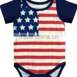 2016 baby clothes romper July 4th new fashion design baby jumpsuits & bodysuits plain cotton manufacturer guangzhou
