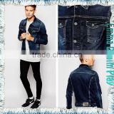 Manufactory Wholesale Turn Down Collar Mens Cropped Length Slim Fitted Blue Jean Jackets