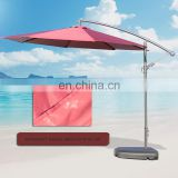 Top quality outside sunshade umbrella with hand push and banana shape