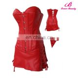 S-6XL plus size sexy red faux leather corset top