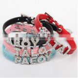 Wholesale Pet Collars Alloy Buckle 10MM Croc PU Leather DIY Letters Personalized Slide Pet Collars(Price Exclude Slide Charms)