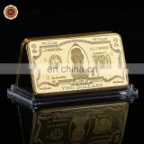 WR 1 oz Gold Bar 24k 999.9 American Bill Banknote USD 2 Dollar Fake Bars Quality Us Art Metal coins for Collection