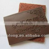 cheap fashion design embossed customized branded logo leather jacket label, pu clothing leather patches