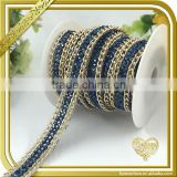 Blue rhinestone chain trim resin ab crystal embellished diamond belt for for wedding dress FHRS-009