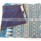 Designer Kantha Quilt Handmade Kantha Bedspread Queen Size Indian Cotton Bed Sheet Paisley Print Quilt Reversible
