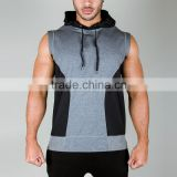 two colors fashion hood sleeveless pullover hoody for men