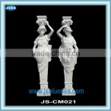 White marble woman statue column