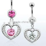 "Surgical steel belly banana, 14g (1.6mm) with dangling heart with dangling round CZ stone - length 3/8"" (10mm)"