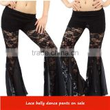 2016 Wholesale Sexy Cheap Black Belly Dance Pant Lace Long Dancing Trousers for Women on Sale 9 Colors Available
