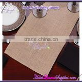 280GSM high density cheap natural burlap table runners for wedding events, with surged edge