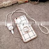 High Quality Fashion Check Pattern Mobile Phone Case for iphone 6 6s with Necklace and Ring Holder