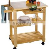 100% eco-friendly Bamboo Utility Cart multifunction kitchen trolley with knife block and cutting broad                                                                         Quality Choice