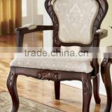 Stocklots furniture Solid wood hand carved pattern arm chair,antique style accent chair with fabric cushion