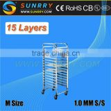 New Design Stainless Steel Food Trolley Carts For Sale And Hand Pull Trolley With Adjustable Wheels
