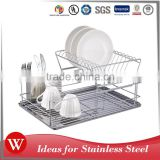 Easy to clean Chrome Plated 2-tier kitchen dish rack with drainer