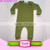 2016 Newest arrival plain olive green infant bodysuit cotton long sleeve binding legs children romper baby clothes clothing yiwu                                                                                                         Supplier's Choice