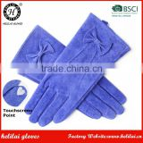 Helilai Hot Selling Women Blue Smart Phone Ladies Winter Fleece Lined Driving Suede Leather Gloves
