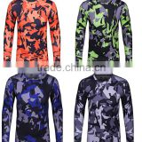 Wholesale Men's custom camouflage long sleeve/jogging yoga training digital printing sublimation workout running shirts for men