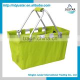 Collapsible aluminum shopping bag polyester market tote foldable picnic shopping storage basket with handle