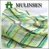Shaoxing Textile woven crepe lady chiffon top fabric, plaid polyester fabric