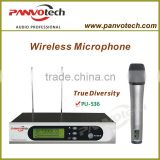 True diversity wireless microphone with metal transmitter and receiver for profesional stage perfromance
