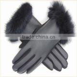 Women Black Touch screeen PU Leather Hand Gloves for Bike