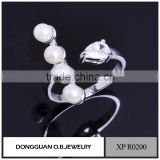 925 sterling silver CZ ring designs for girl imitation pearl ring designs for women