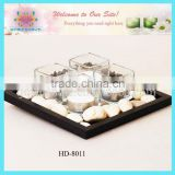 glass candle holder with wooden tray gift set
