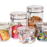 High quality factory kitchen plastic season pot food jar air tight canister with clip lid