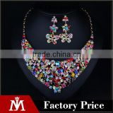 Luxury women butterfly diamond jewelry set crystal flower necklace and ear pandant drop earrings