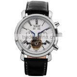 Mens Tourbillon White Dial Date Black Leather Automatic Mechanical Sport Watch