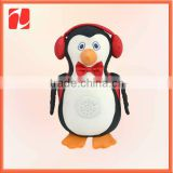 Fashion mini plush music penguin with earmuffs and backpack
